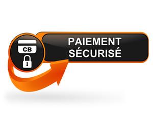 paiement sécurisé sur bouton web design orange