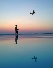 Man and rc plane