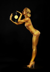 Futurism. Golden Woman DJ with Vinyl Record. Body Painting
