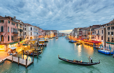Grand Canal view at night, Venice