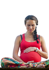 relaxing  pregnant woman isolated