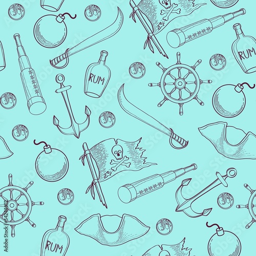 Pirates elements seamless pattern