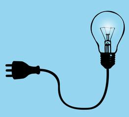 illustrazione vettoriale con lampadina e spina per la corrente