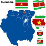 Suriname detailed country shape and flags. poster