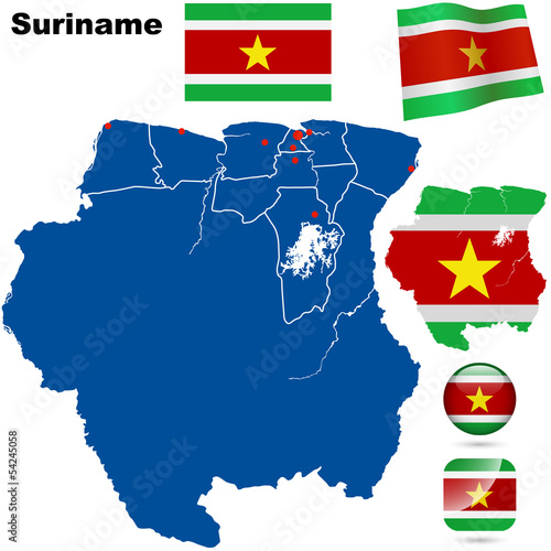 Suriname detailed country shape and flags.