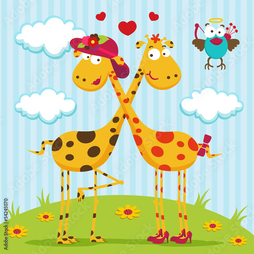 giraffes boy, girl and bird - romantic vector illustration