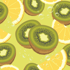 Slices ripe orange and kiwi fruit. Seamless background