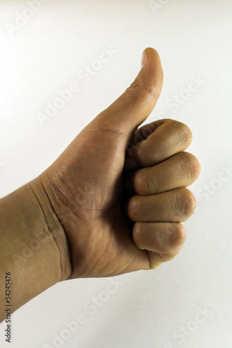 Left thumb up