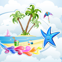 Summer beach with palm trees and  starfish