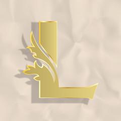 Vintage initials letter l