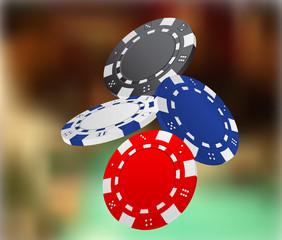 Illustration of Falling Poker Chips