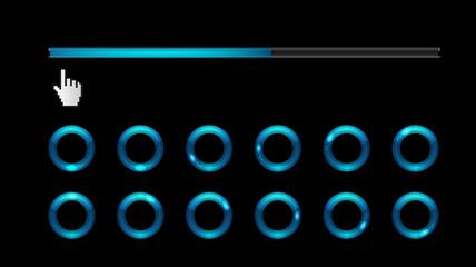 Blue loading bar and spinner