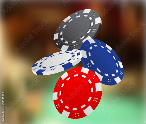 Illustration of Falling Poker Chips