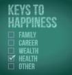 health. keys to happiness illustration design