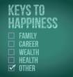 keys to happiness illustration design