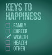 wealth. keys to happiness illustration design