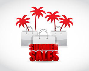 summer sale sign and bags illustration design