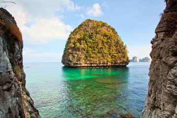 View at Maya Bay of Phi Phi island in Thailand