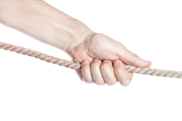 Concept image, man's hand pulling a rope competing. On a white b
