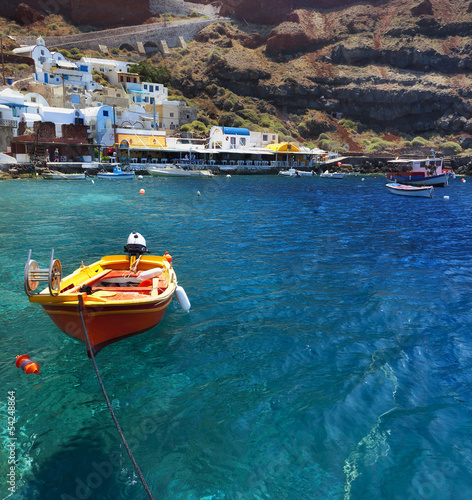 The beautiful Ammoudi Bay at Oia Santorini Greece