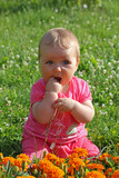 Baby girl play on the grass