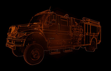 Neon Fire Truck Outline Drawing