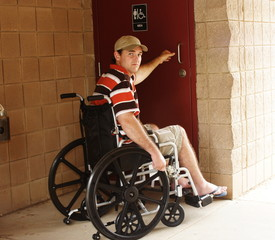 Disabled man needs assistance for bathroom