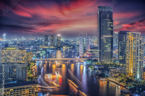 River in Bangkok city in night time