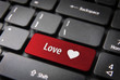 Red heart keyboard key, Love background