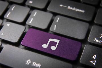 Purple Music note keyboard key, Entertainment background