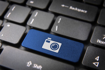 Blue Camera keyboard key , Entertainment background