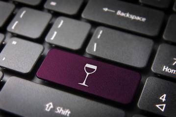 Purple Wineglass keyboard key, Food background