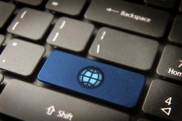 Blue Globe keyboard key, Internet background