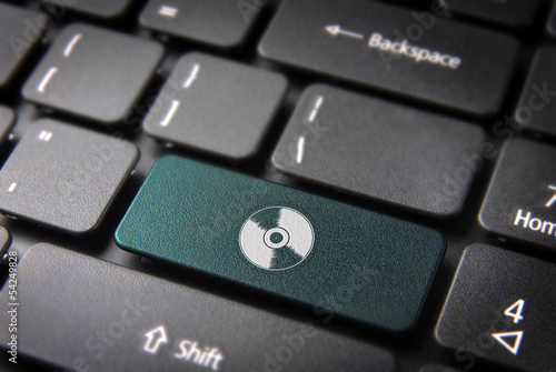Green Disc keyboard key, Entertainment background