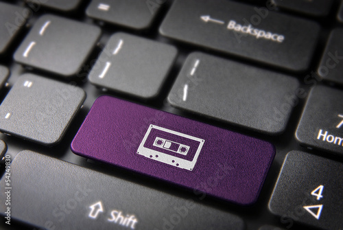 Purple Cassette keyboard key, Entertainment background