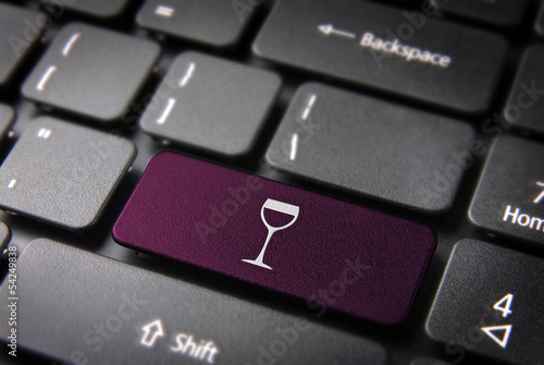 Purple Wineglass keyboard key, Food background