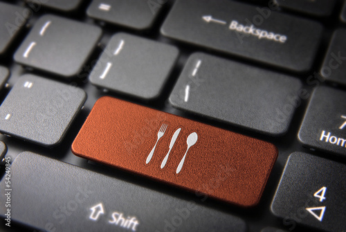 Orange Cutlery keyboard key, Food background