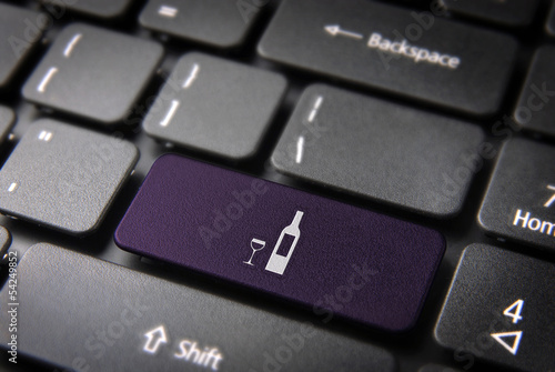 Purple Wine bottle keyboard key, Food background