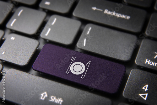 Purple Dish and cutlery keyboard key, Food background