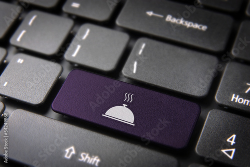 Purple Gourmet plate keyboard key, Food background