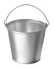 Metallic bucket on a white background