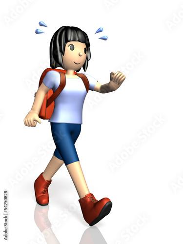 Young girl is enjoying hiking.