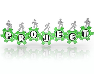 Project Word Gears People Working Together Accomplish Task