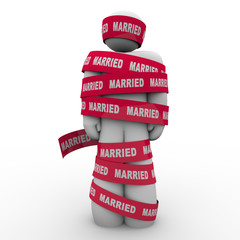 Married Man Wrapped Red Tape Prisoner Trapped Person