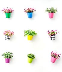 Artificial colorful flowers pots