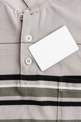clean white card in T-shirt pocket