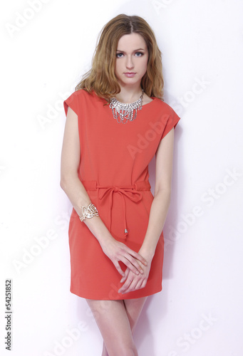 fashion shot of girl posing in studio