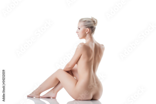 Graceful naked blonde isolated on white