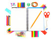 Notebook with colorful border of school supplies