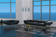 Modern bright loft interior with couch and seascape view